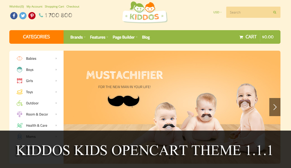 Скрипт детского магазина Kiddos kids opencart theme 1.1.1