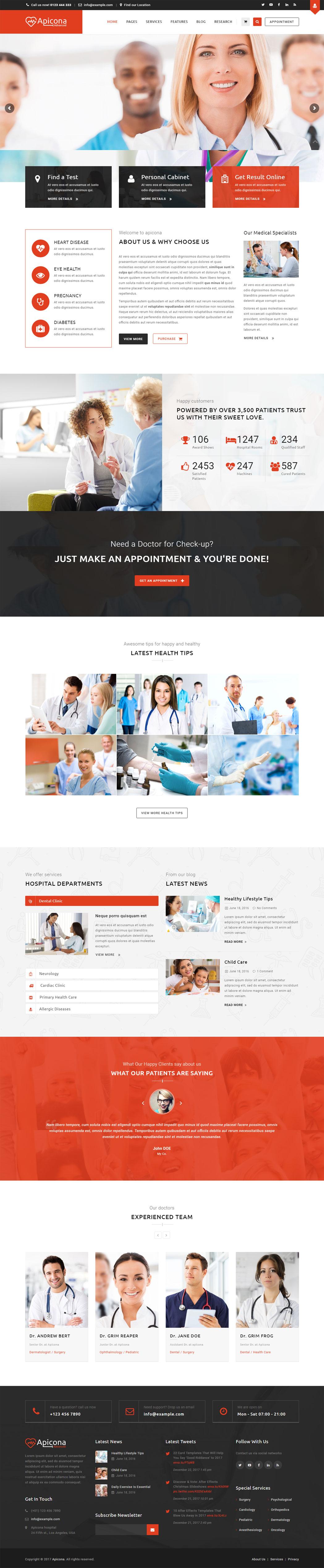 Apicona 14.1.0 медицинская тема для wordpress