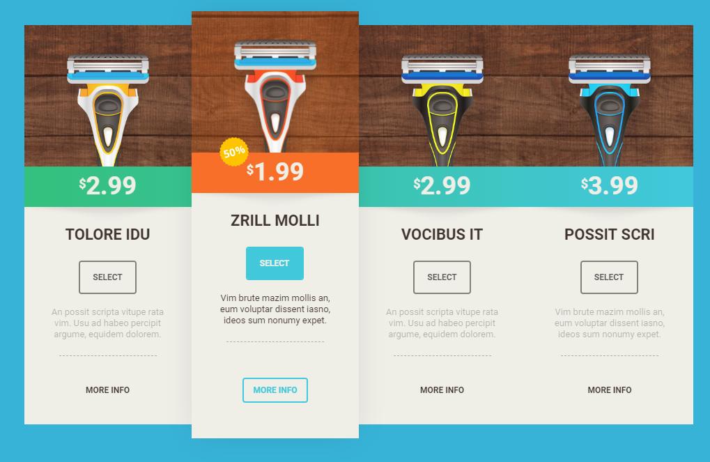 таблицы цен для WordPress